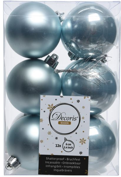 12 Design Weihnachtskugeln 6cm Blau Kunststoff Dekokugel Baumkugel