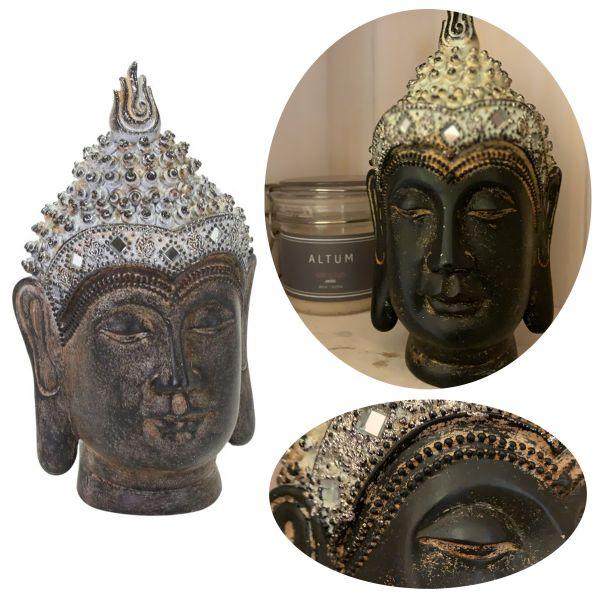 Buddha Figur Kopf 19cm Holz-Optik Deko Statue Skulptur Asien Feng Shui