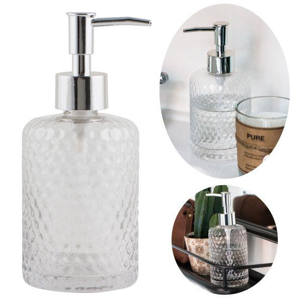 Glas Seifenspender 500ml Silber Klar 18cm Dispenser Seifenpumpe