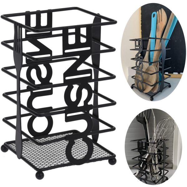 Besteck-Ständer Metall Schwarz 16cm Utensilienhalter Besteckbehälter