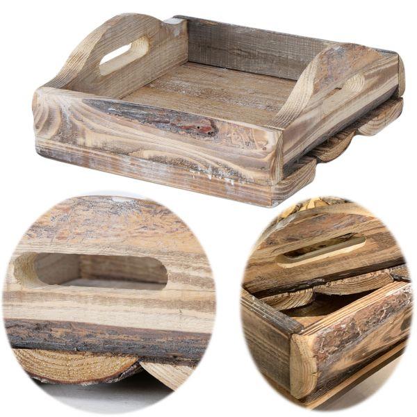 Echt-Holz Serviertablett 28x28cm Kiefer Holz-Tablett Deko-Tablett Griff