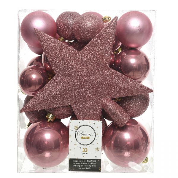 33 Christbaumkugeln Kunststoff Pink Spitze Stern Weihnachtskugeln
