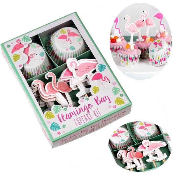 48x Papier Muffinform-Set Flamingo Pelikan Muffinförmchen Fahnen-Picker