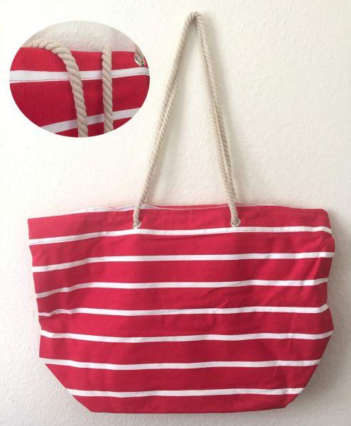 XL Strandtasche Schultertasche Umhängetasche Einkaufstasche Rot Weiss