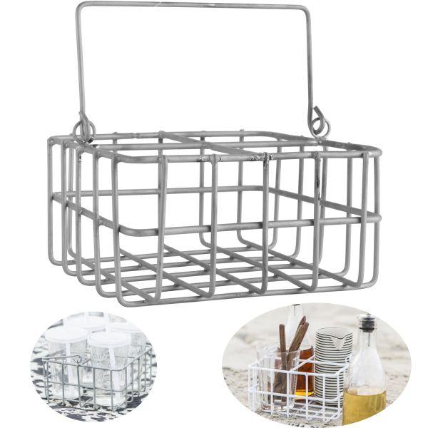 Draht-Korb Deko-Korb Metall-Korb 16x16x8cm Grau Henkel Ib Laursen