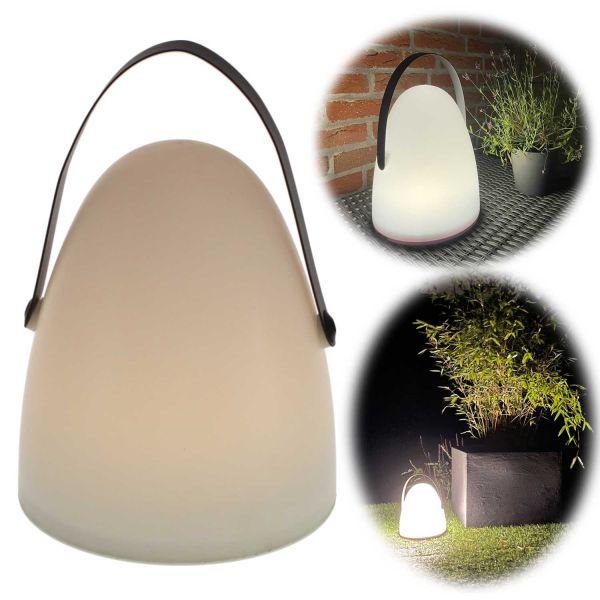 LED Gartenlaterne 25cm Weiß Grau Timer Camping-Leuchte Windlicht
