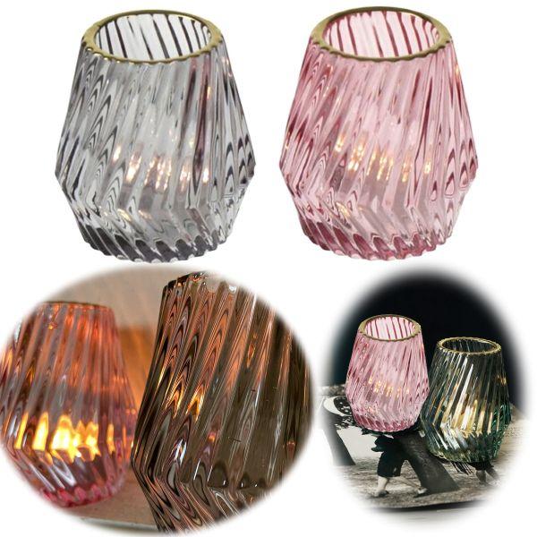 2x Glas Teelichthalter Set 9cm Rosa Grau Gold Teelichtglas Windlicht-Halter