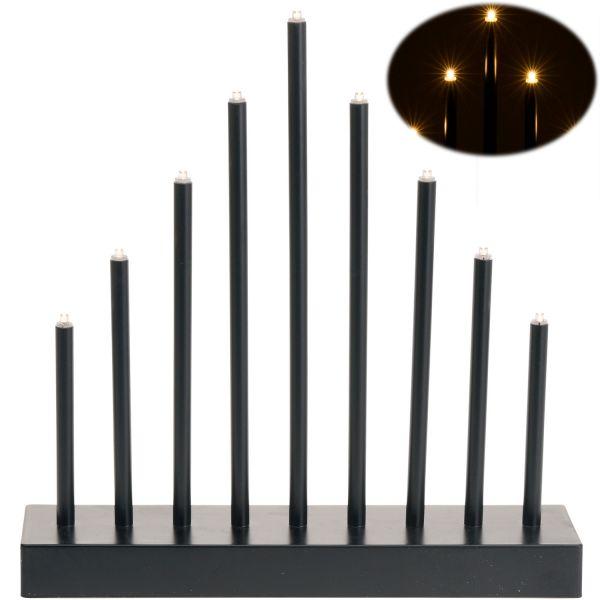 Schwibbogen Lichterbogen 9 LED Schwarz Fensterleuchter Pyramide