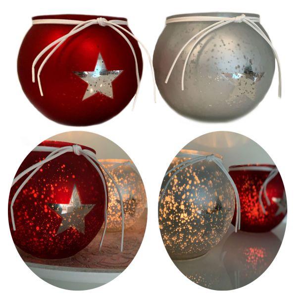2x XL Glas Windlicht Rot Silber Stern 13cm Set Teelicht-Halter Deko