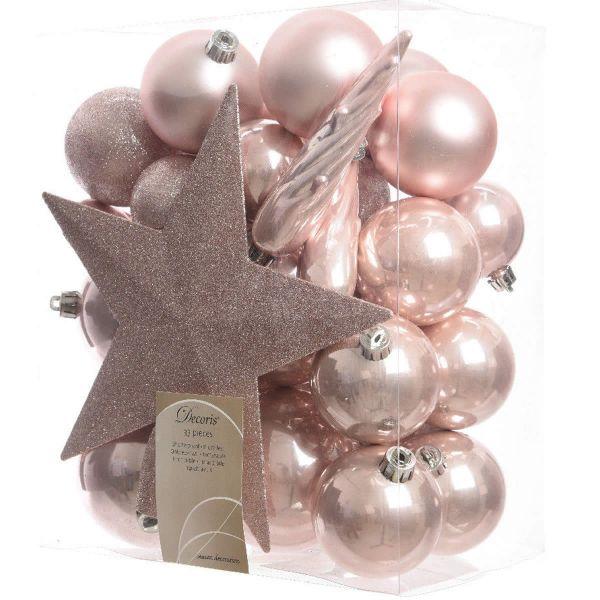 33 Christbaumkugeln Kunststoff Rosa Rose Spitze Stern Weihnachtskugeln