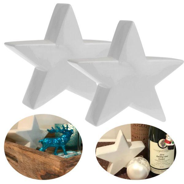 2x Deko Weihnachts-Stern 14cm Porzellan Weiß Tisch-Dekoration Weihnachten