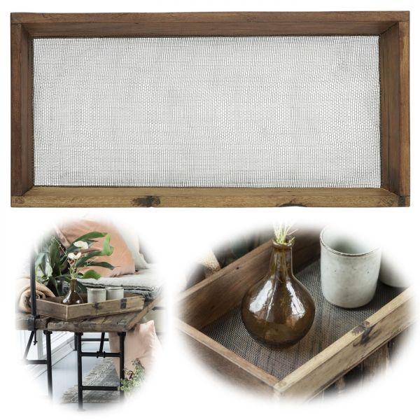 Exklusives Holz Deko Tablett Braun 47cm Gitter Kerzenschale Vasen Dekoration