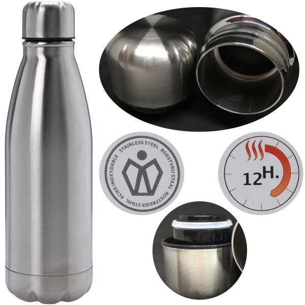 Edelstahl Thermosflasche 500ml 0,5L Silber Trinkflasche Isolierflasche