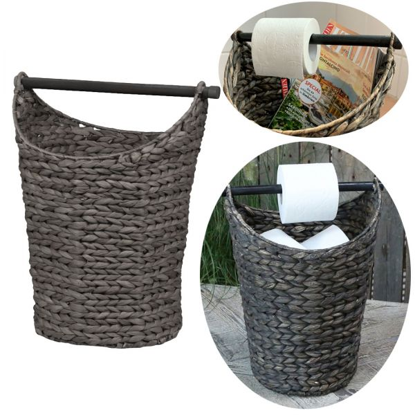 Toilettenpapier-Ständer Deko-Korb Grau Klorollen-Halter Rattan-Look