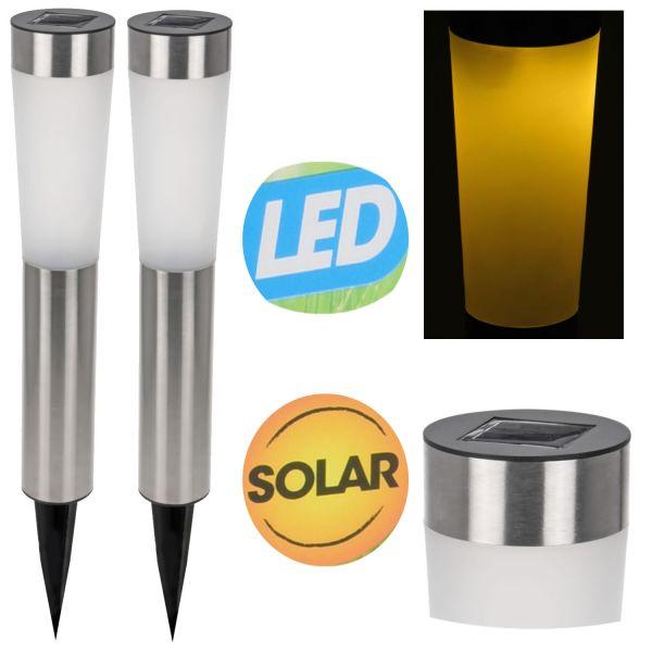 2x LED Edelstahl Solar Lampe Leuchte Fackel Gartenleuchte Solarleuchte