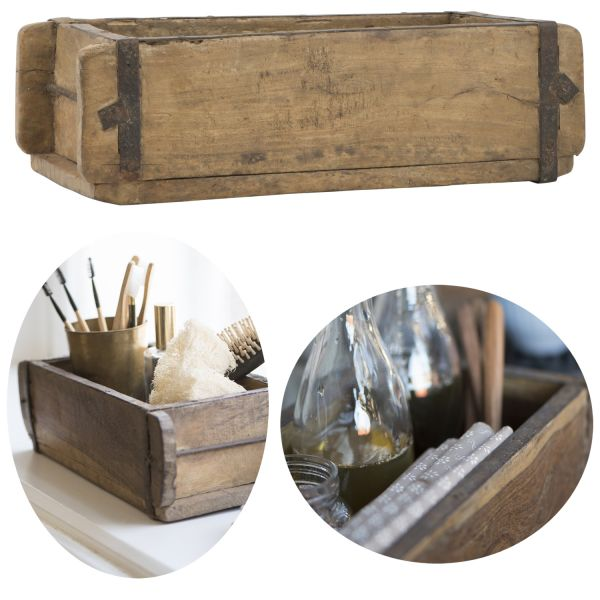 Unika Holz Ziegelform 31x15x10cm Braun alte Backsteinform Cutlery Deko