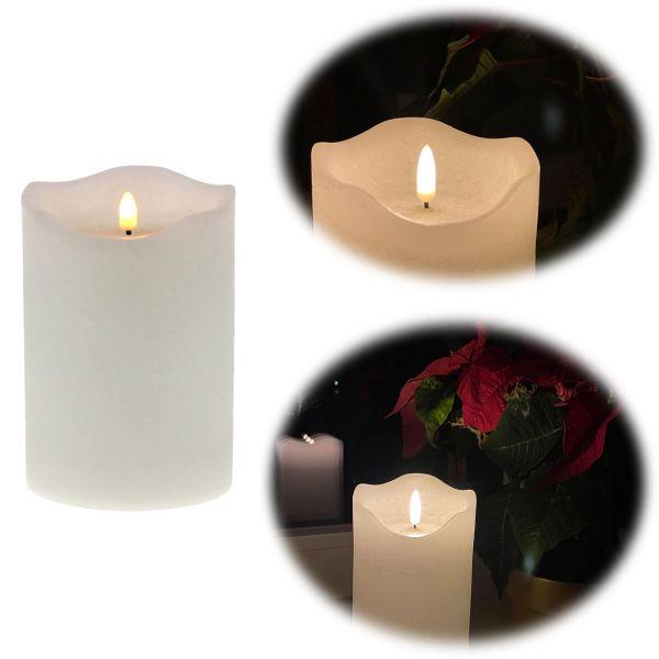 LED 3D Stumpenkerze Creme Weiß 12,5cm Echtwachs flackernde flammenlose Kerze