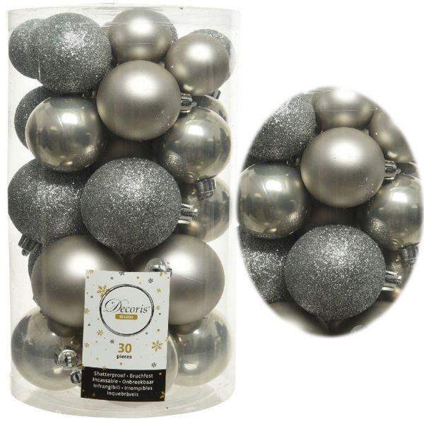 30 Kunststoff Weihnachtskugeln Grau 4cm-6cm Baumkugel Dekokugel