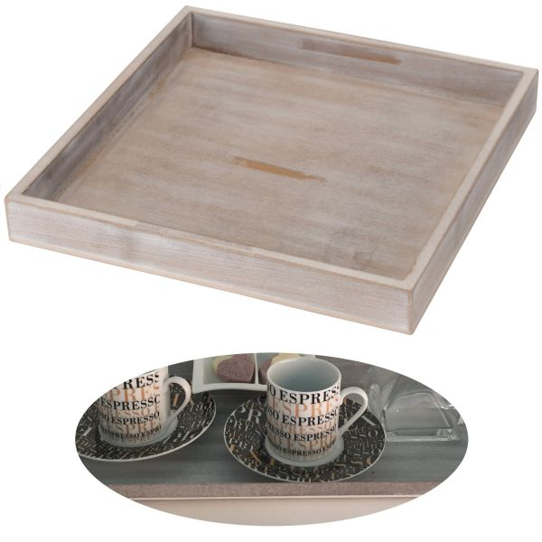 Holz Deko-Tablett Shabby Grau Weiß 30x30cm Kerzen-Schale Teelichthalter