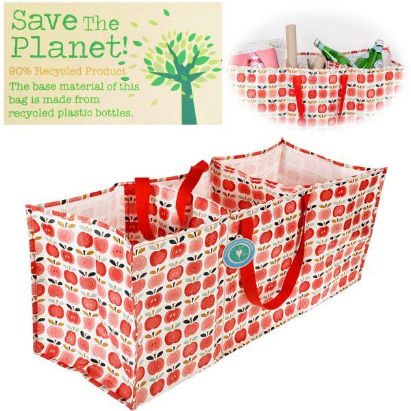 XXL 3-fach Recycled Jumbo Bag Apfel Rot Weiß 75cm Allzweck-Tasche Aufbewahrung