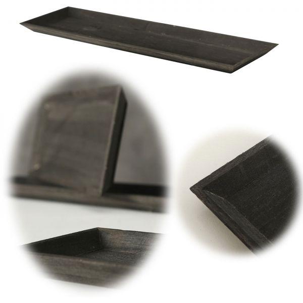 Holz Deko-Tablett Shabby Schwarz 45x16cm Kerzen-Schale Teelichthalter