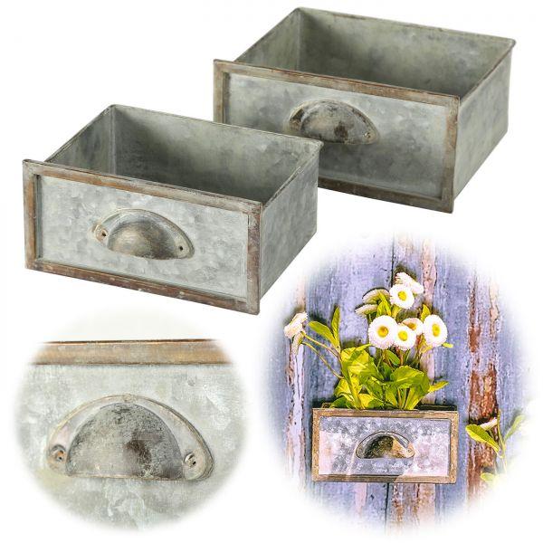 Vintage 2x Jardiniere Metall Pflanzkasten Blumentopf Übertopf Aufbewahrungsbox