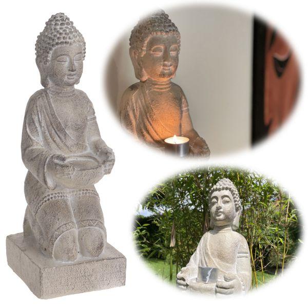 XL Deko Figur Buddha Statue 43cm sitzend Grau Weiß Kunstharz Sockel