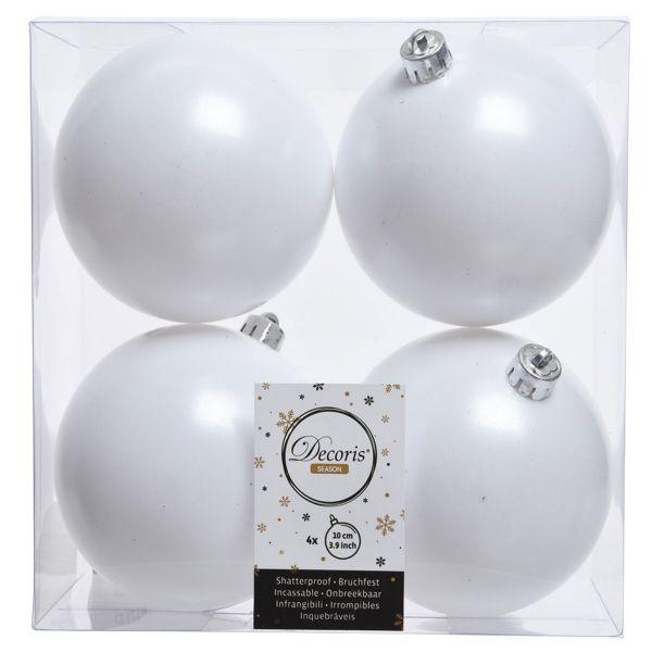 4 Design Weihnachtskugeln 10cm Winter-Weiß Kunststoff Dekokugel Baumkugel