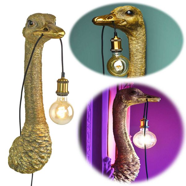 Design Wandlampe Franz Josef Strauß 72cm Gold E27 Wandleuchte Deko