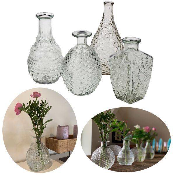 4x Retro Glas-Vase 15-20cm Klar Set Deko Tisch-Vase Blumenvase Väschen