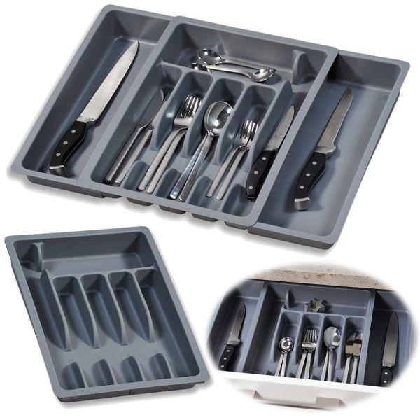 Schubladeneinsatz Besteckkasten 29-50cm Grau ausziehbar Besteckbox Organizer