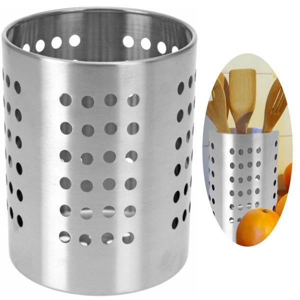 Besteck-Ständer Edelstahl Silber 13cm Utensilienhalter Besteckbehälter
