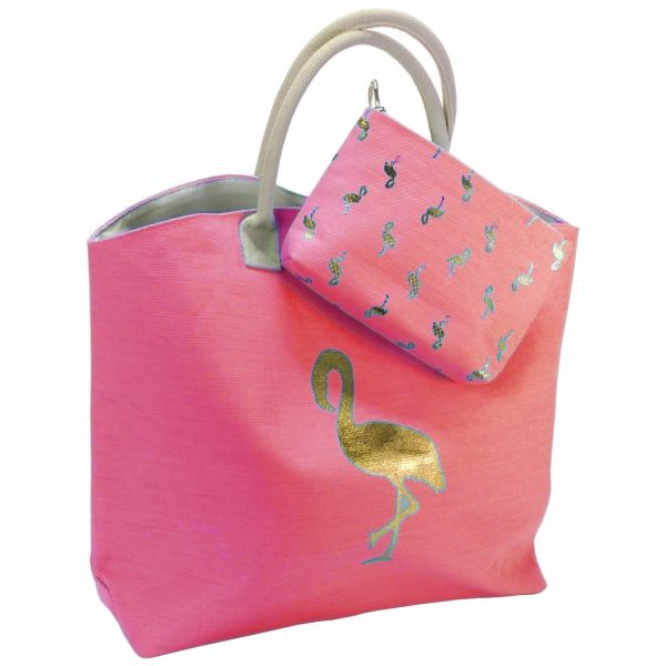 XL Strandtasche Kulturtasche Set Flamingo Rosa Pink 53x40cm