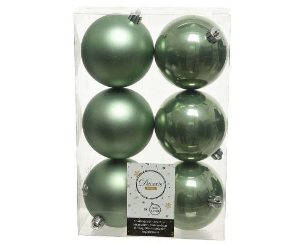 6 Design Weihnachtskugeln 8cm Salbei-Grün Kunststoff Dekokugel Baumkugel
