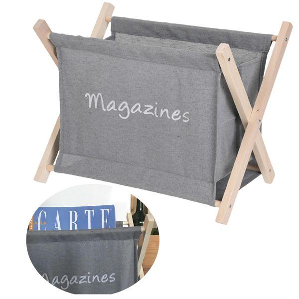 Holz Magazinständer Grau 30cm Zeitungsständer Zeitschriftenständer