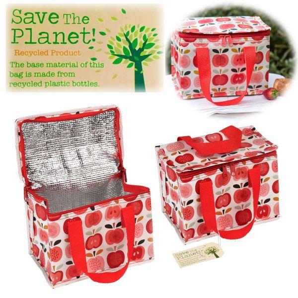 Vintage Kinder Kühltasche Apfel Rot 21x13cm Recycelt Isoliertasche Kühlbox