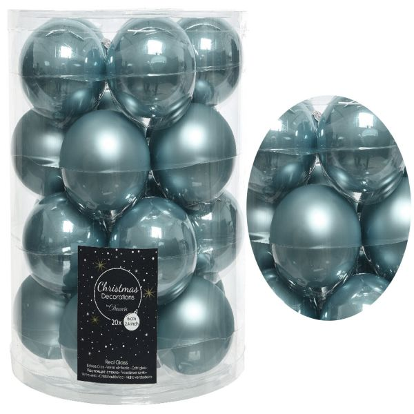 18-20 Design Glas Weihnachtskugeln 6cm Blau Christbaum Dekokugel
