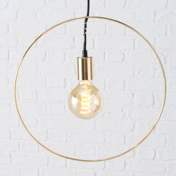 Pendel-Leuchte Gold Ring 40cm Hänge-Lampe Hängeleuchte Deckenleuchte