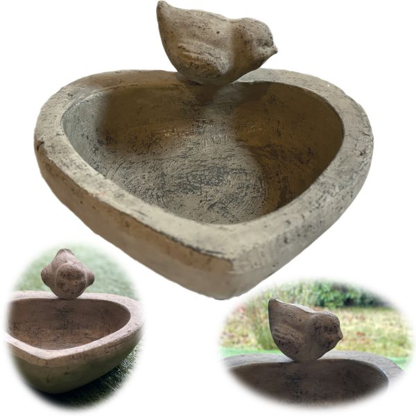 Vogelbad Vogeltränke Keramik 21cm Herz Grau Balkon Terrasse Garten Bienen