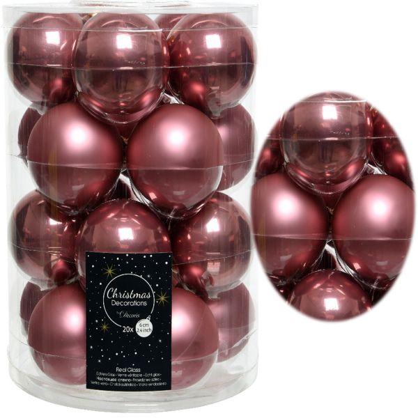 18-20 Design Glas Weihnachtskugeln 6cm Pink Samtpink Christbaum Deko
