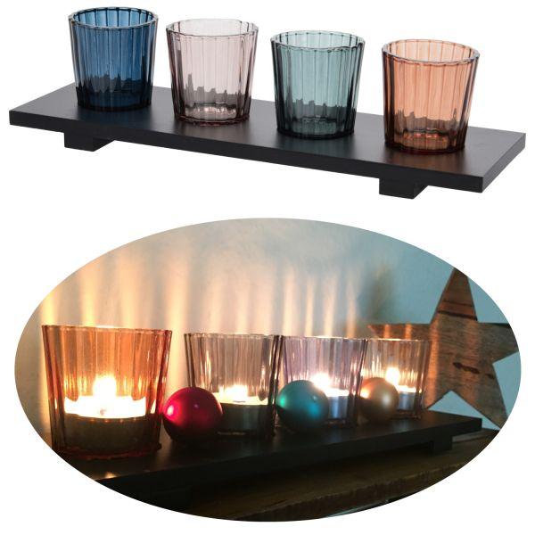 Holz Kerzentablett Teelichthalter-Set 30cm Deko-Tablett Windlichter Glas