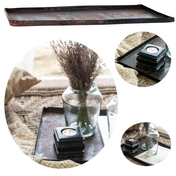 Metall Deko-Tablett Backblech Unika 42cm Serviertablett Kerzen-Teller
