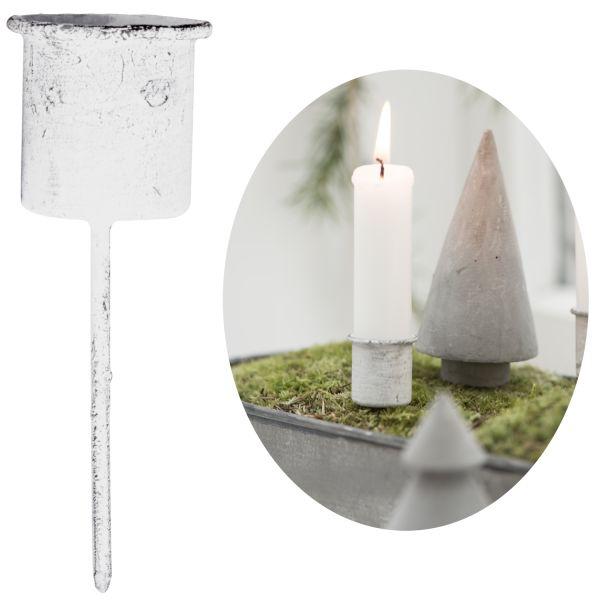 Metall Stabkerzen-Halter Spieß Weiß 8cm Kerzenständer Kerzen-Stecker