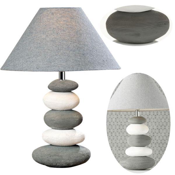 Tischlampe Keramik Stone Grau Weiß 43cm Tischleuchte Nachttischlampe