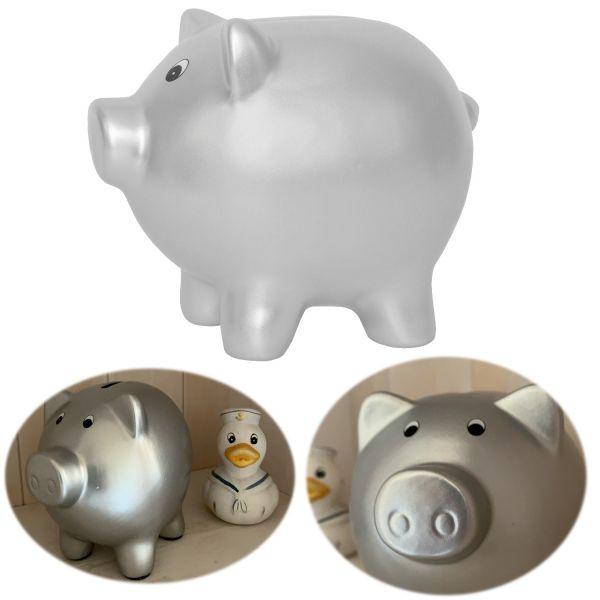 JaBaDaBaDo Keramik Sparschwein Schwein Silber 14x11cm Spardose G10045