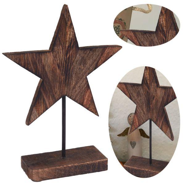 Deko-Objekt Holz Weihnachts-Stern 29cm Tisch-Dekoration Weihnachten