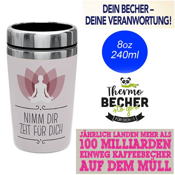 Edelstahl Coffee to Go Becher 240ml Yoga Kaffee Thermo-Becher