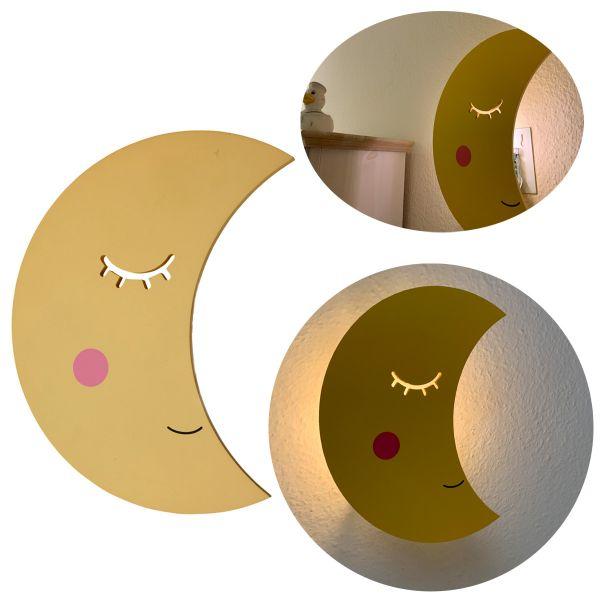 Kinder LED Wandlampe Mond 29cm Holz Gelb Einschlafhilfe Nachtlicht