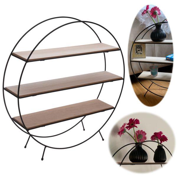 Standgregal Setzkasten 3 Ebenen Rund Metall Holz Wand-Regal Deko-Regal