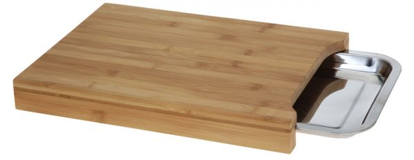 Holz Schneidebrett 34cm Auffangschale Metall-Tablett Tranchierbrett